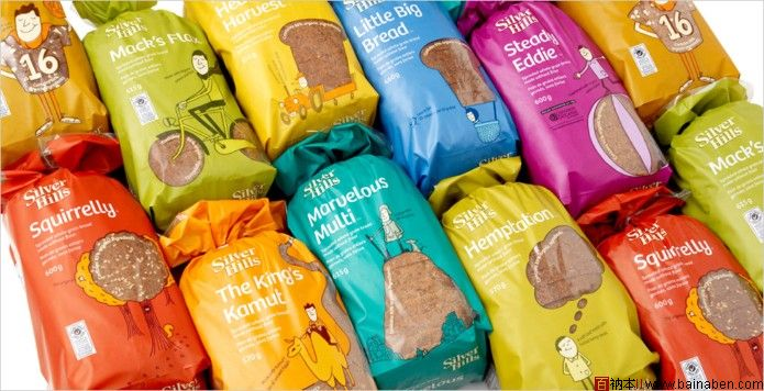 karacters silver hills面包包装袋设计图片