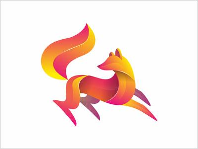 重叠渐变效果动物logo设计欣赏